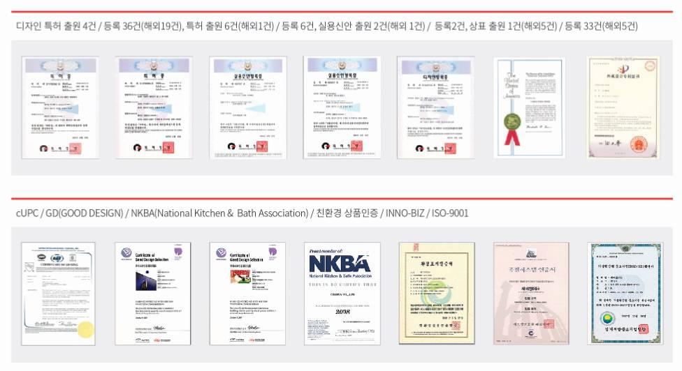 세비앙이 보유하고 있는 인증·특허 내역