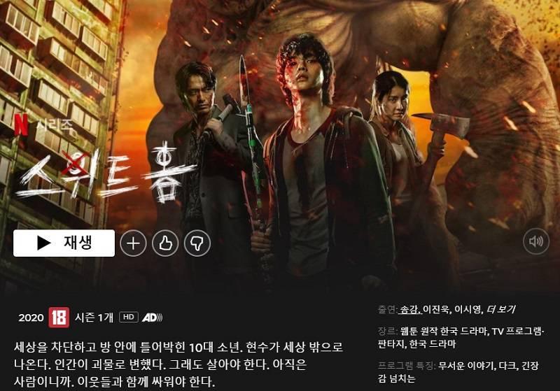 넷플릭스 오리지널 시리즈 <스위트홈>의 PC화면